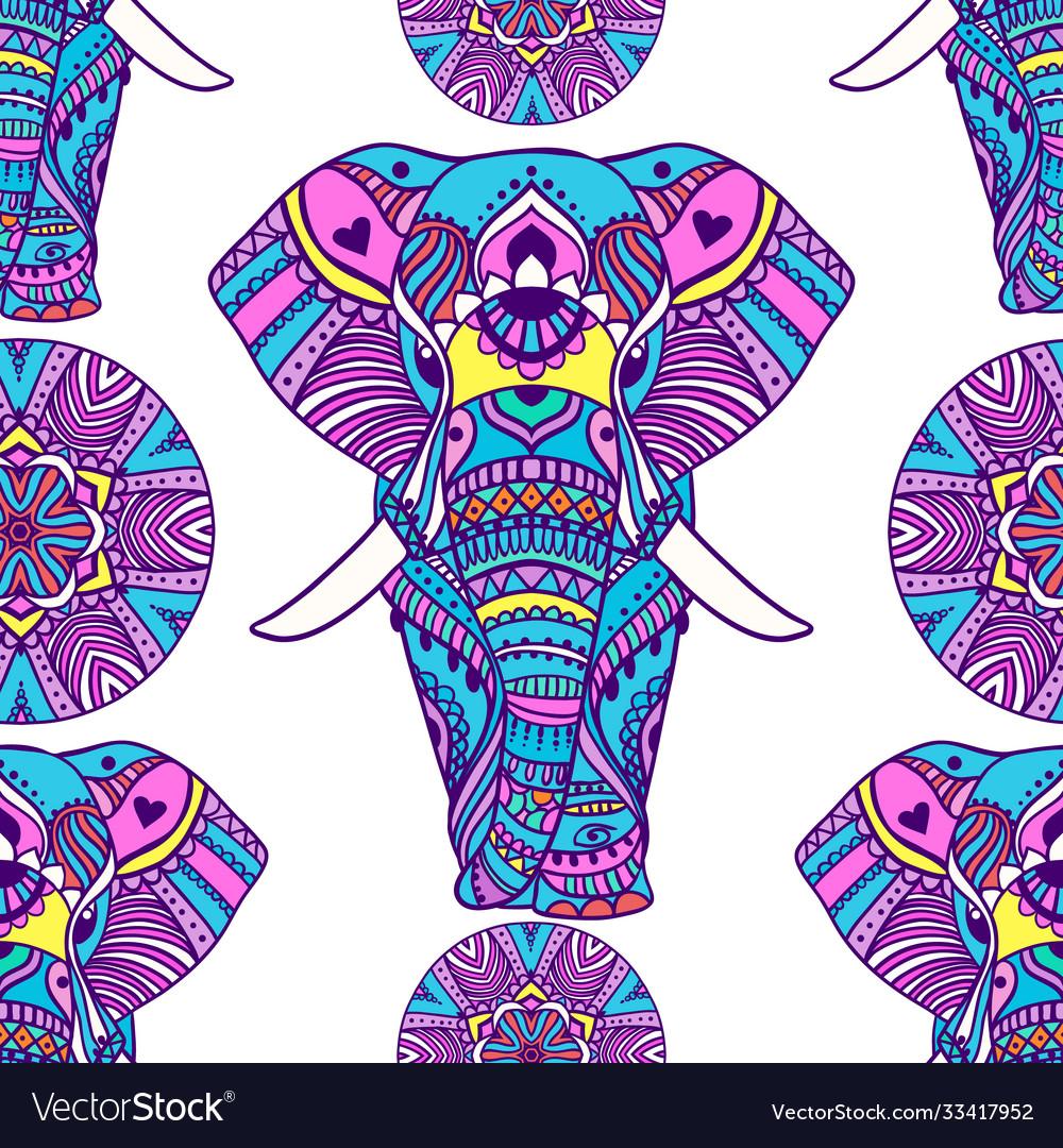 Boho elephant pattern floral