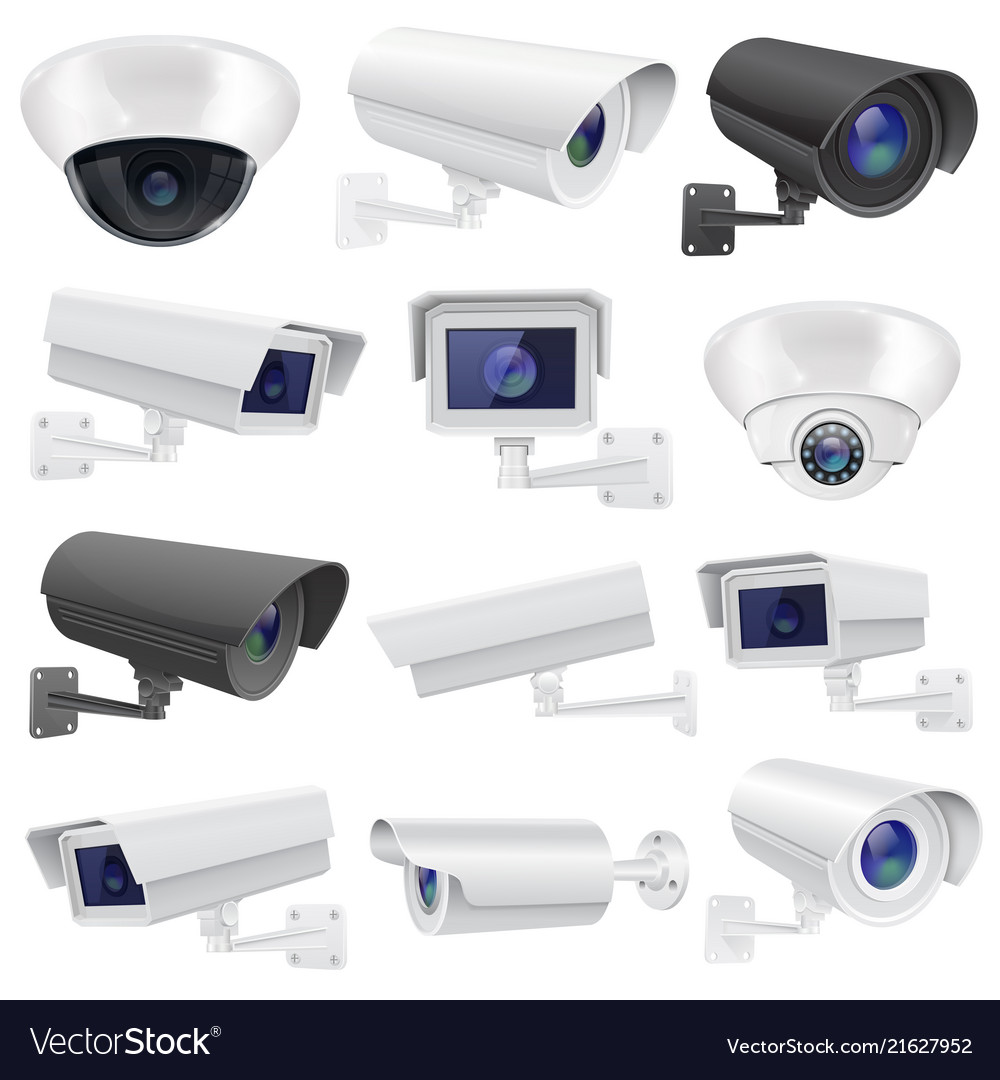 Cctv camera large collection of white and black