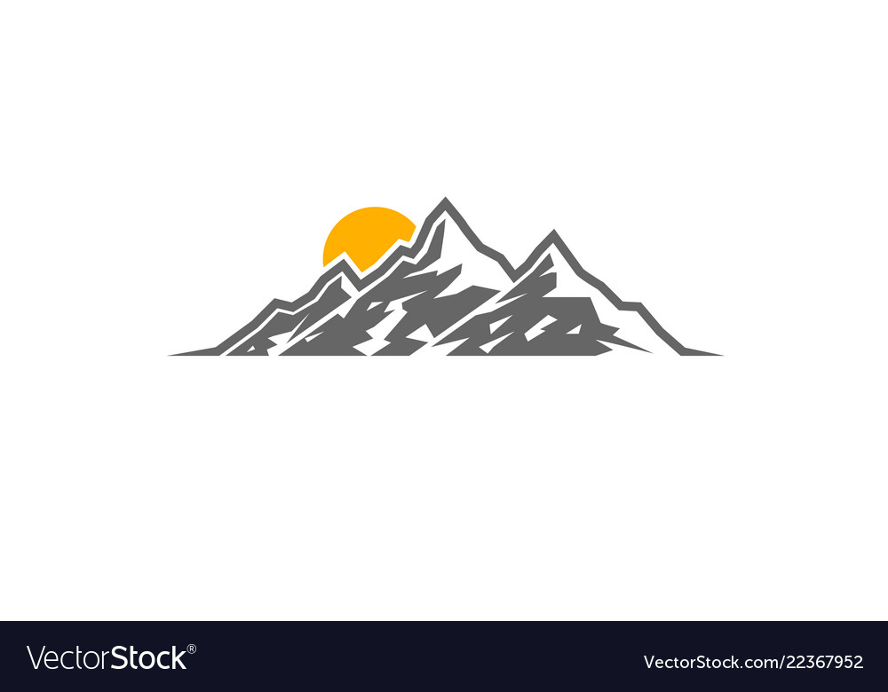 Creative mountains sunrise logo