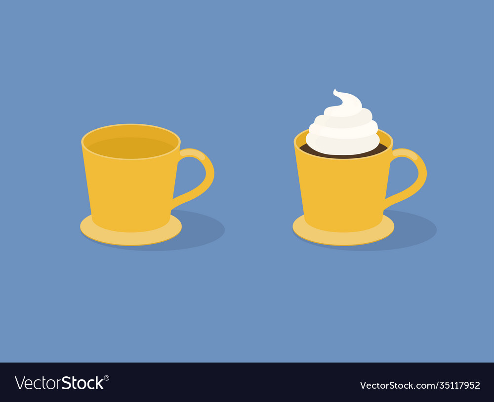 Cup coffee on blue background empty and full