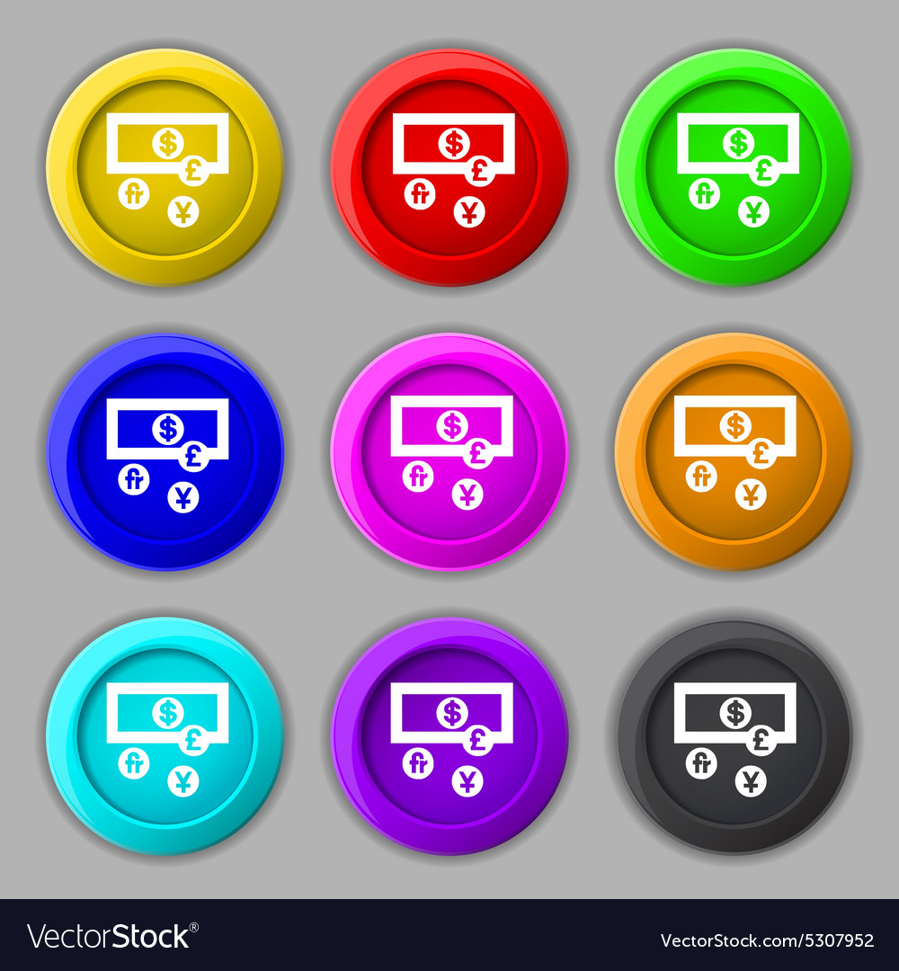 Currencies Of The World Icon Sign Symbol On Nine Vector Image