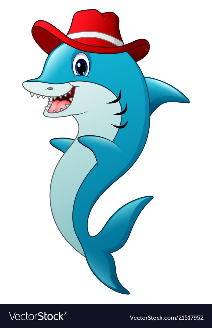 Funny shark cartoon wearing a hat