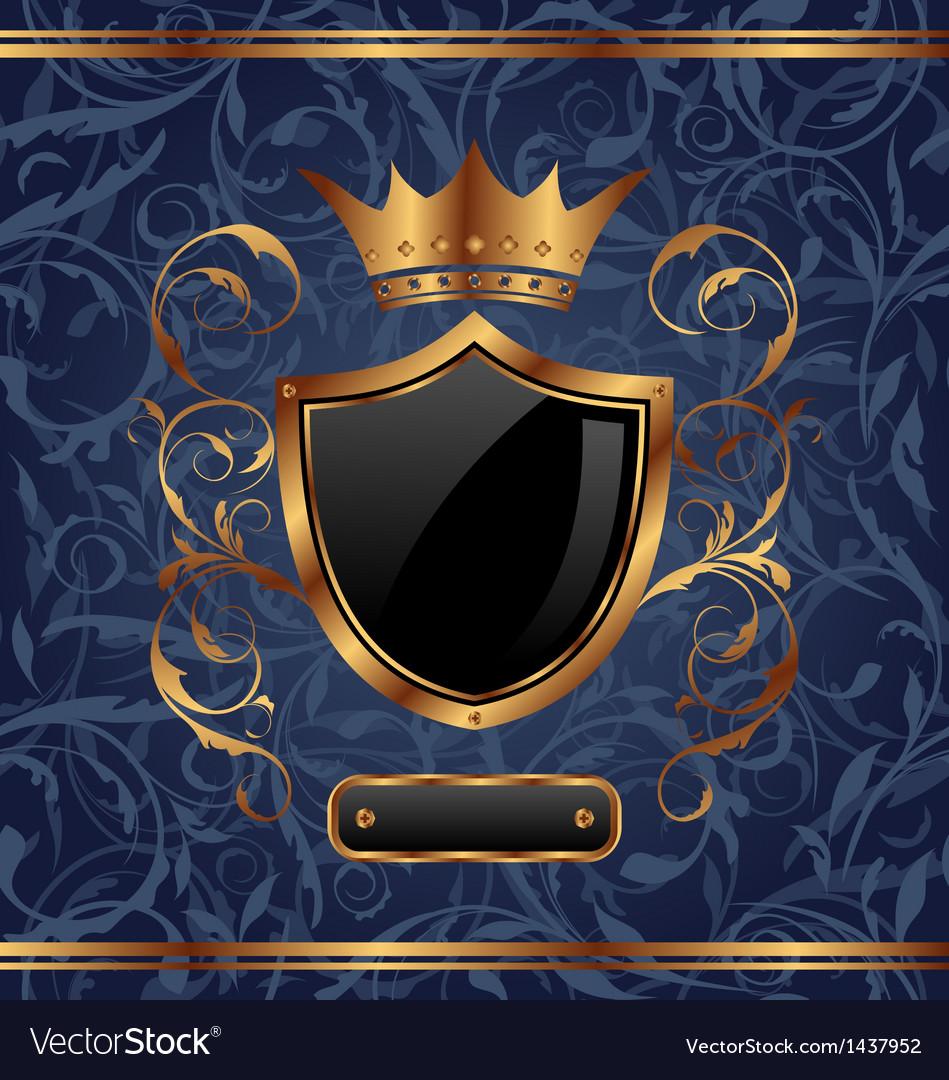 Golden vintage heraldic elements crown shield
