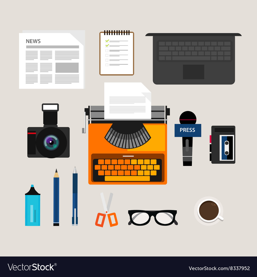 Journalist press icon objects isolated