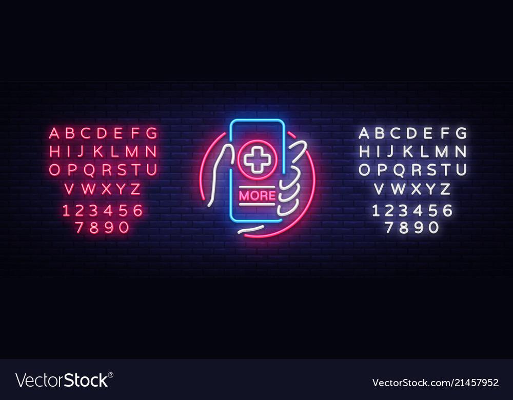 Medical online neon sign design template medical