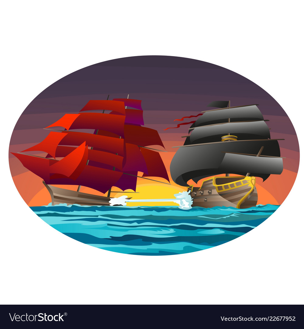 Oval poster with two sea ships with red and black