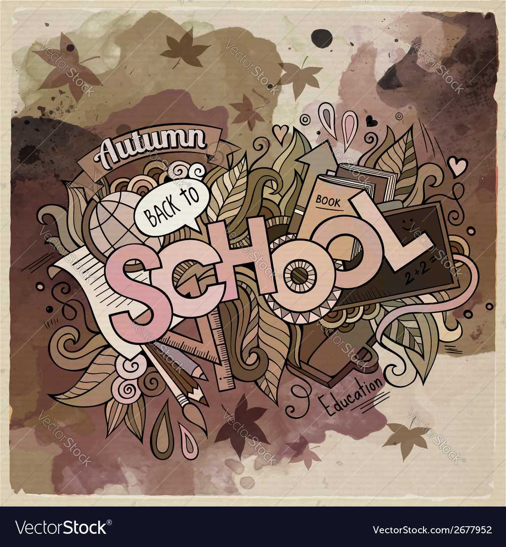 School watercolor cartoon hand lettering and