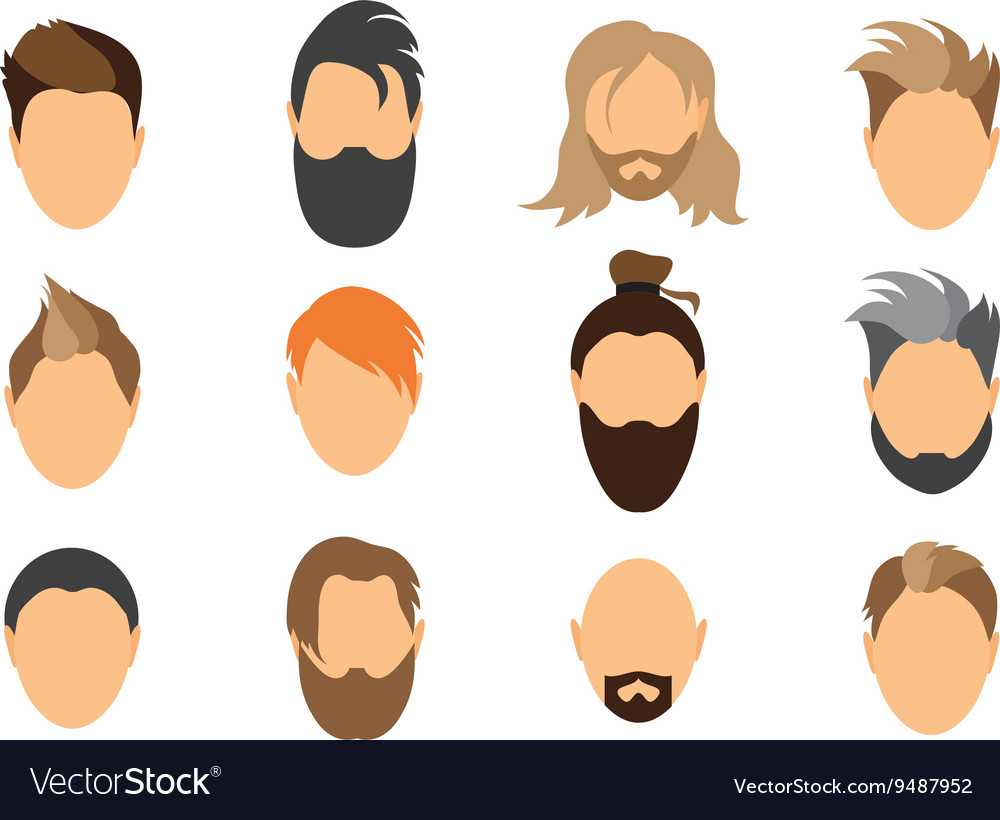 Set of mens hairstyles beards and mustaches