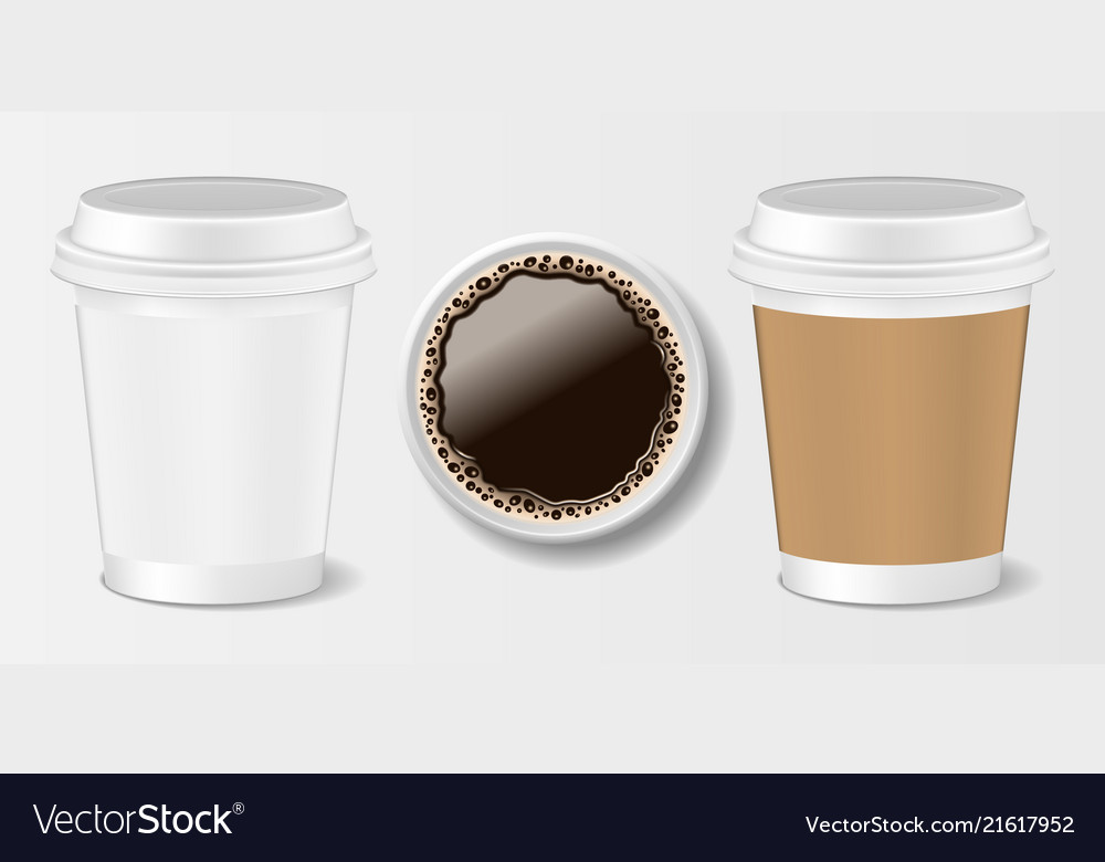 Set of realistic paper take-out coffee cup 3d