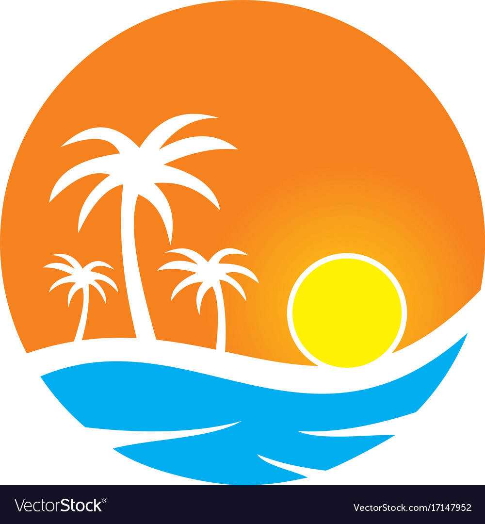 Sunset tropic palm tree beach travel logo