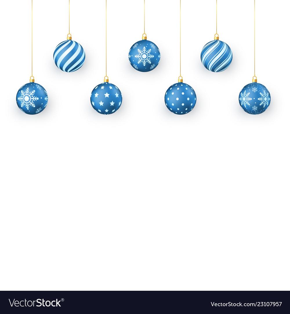 Blue christmas balls set holiday decorative