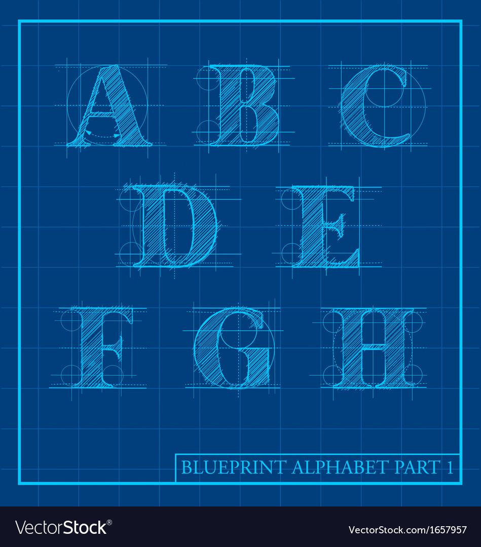 Blueprint style alphabet set 1