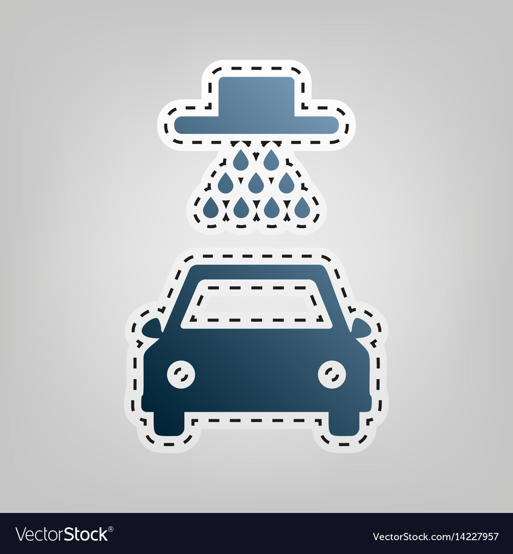 Car wash sign blue icon with outline for