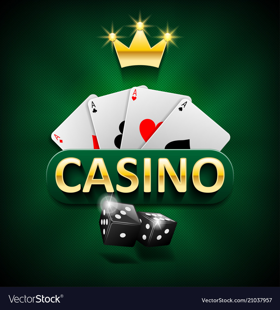 Casino marketing banner with dice and poker cards