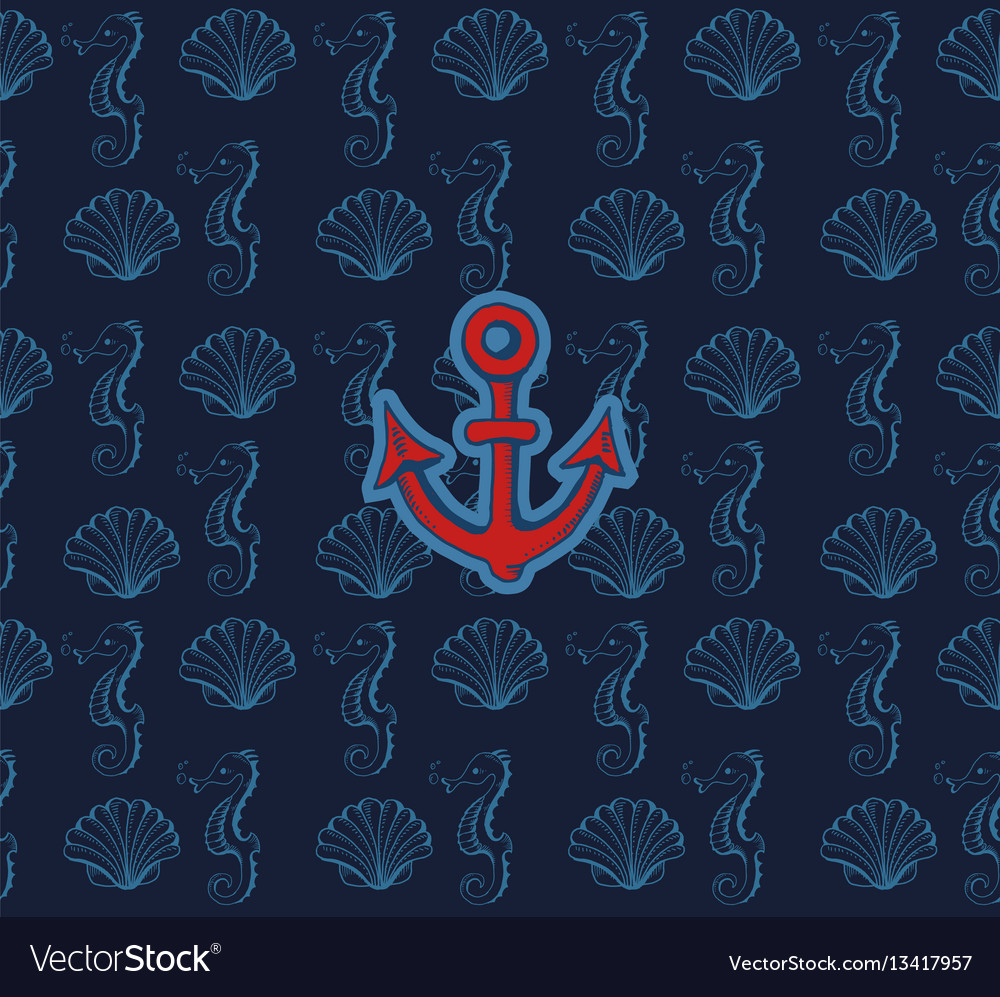 Cute sea objects collection vector image