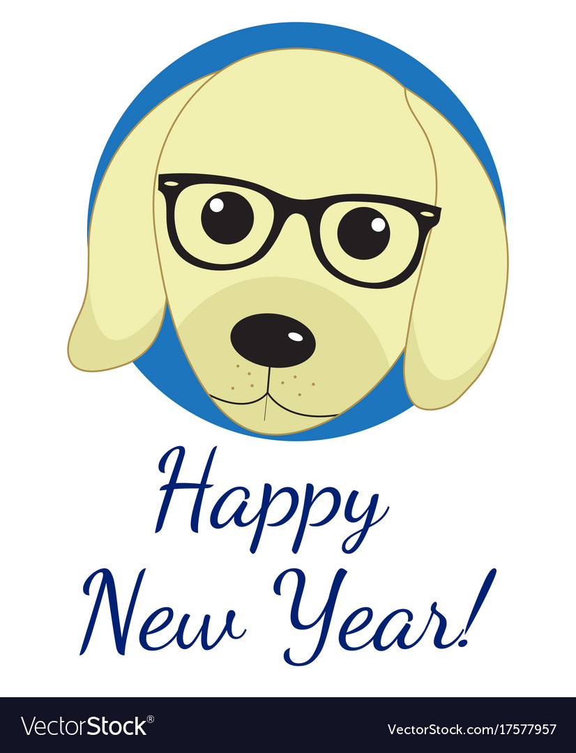 Happy new year greeting card with cute dog puppy