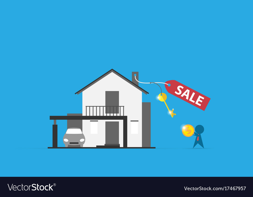 Home with sell label and key real estate concept