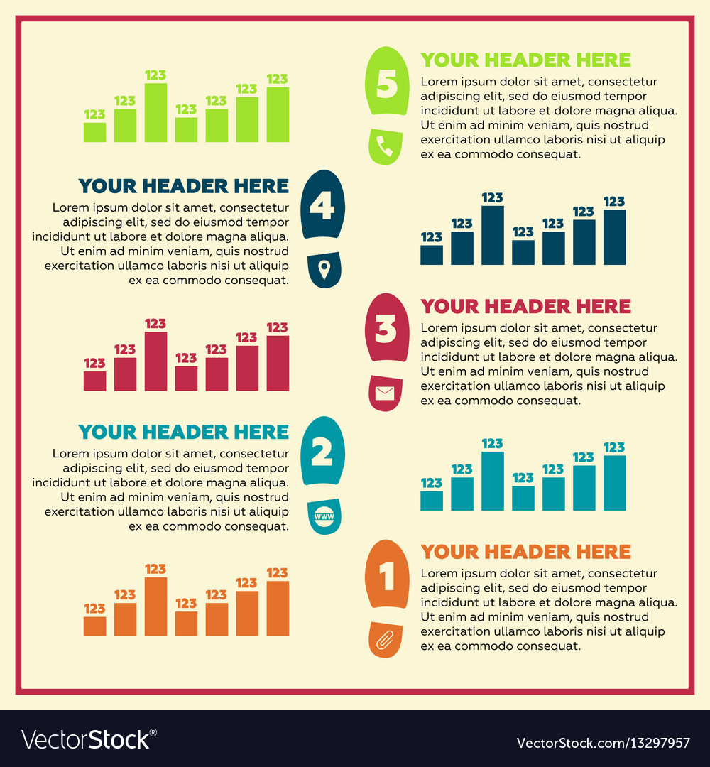 Infographics elements - steps and line chart