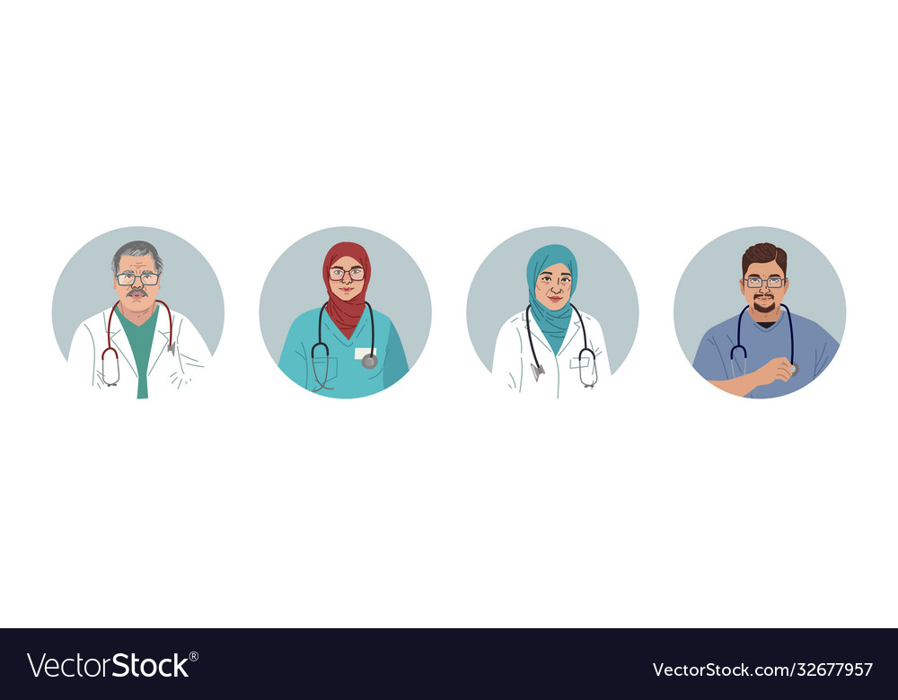 Medical characters portraits middle eastern