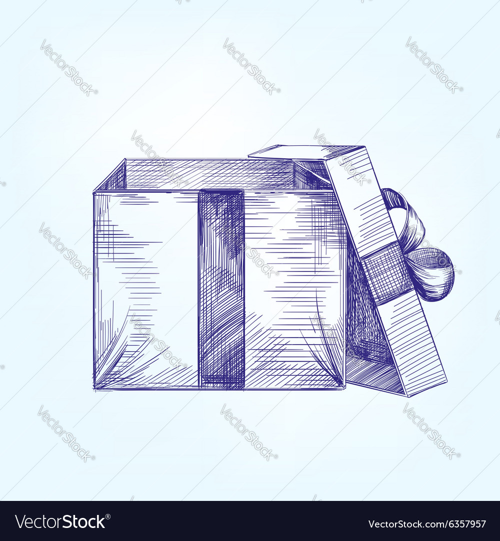 Open Gift Box Hand Drawn Llustration Vector Image