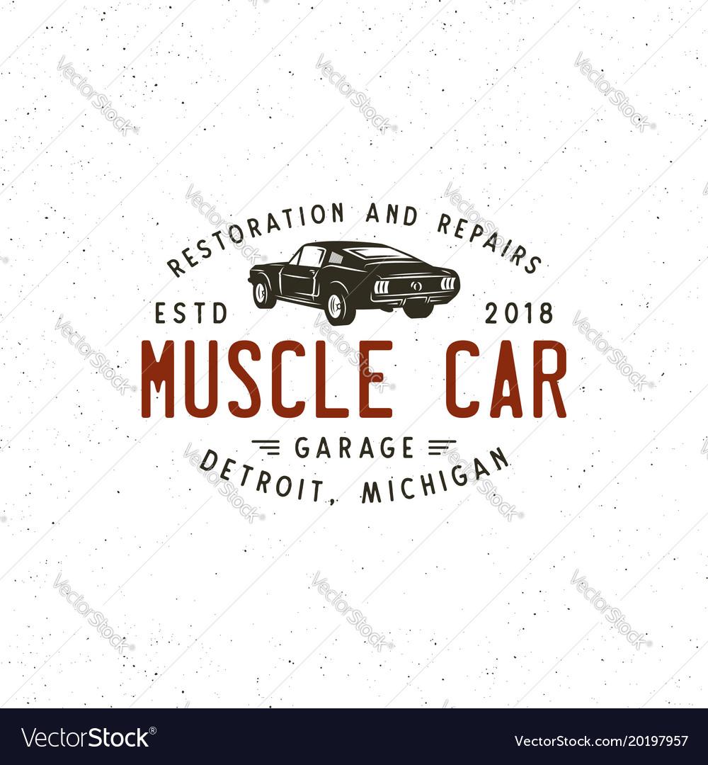 Vintage muscle car garage logo