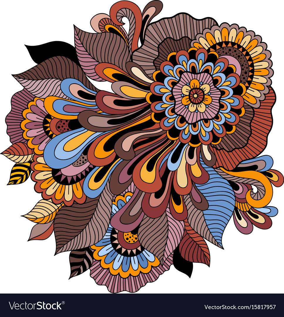 Zentangle floral ornament tattoo flower template