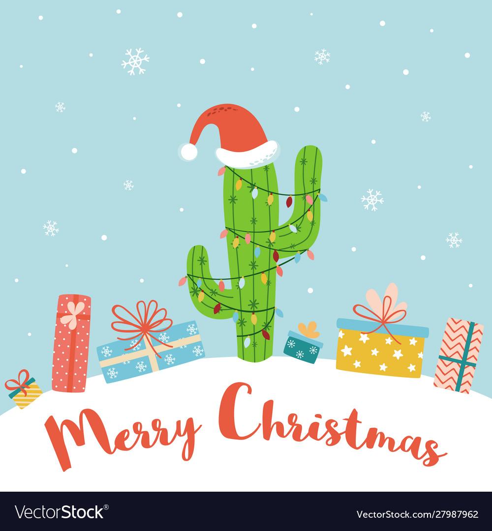 Alternative christmas concept cactus christmas