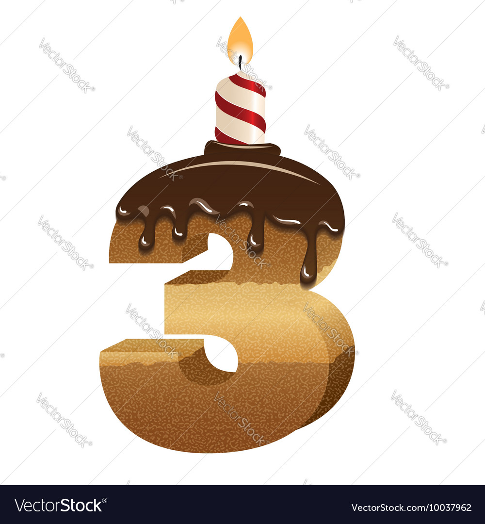 Birthday Cake Font Number Three Royalty Free Vector Image