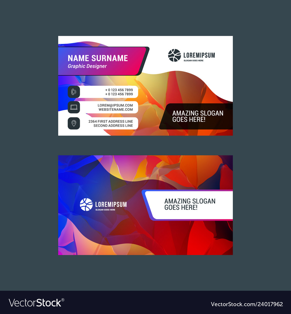 Double-sided horizontal business card template