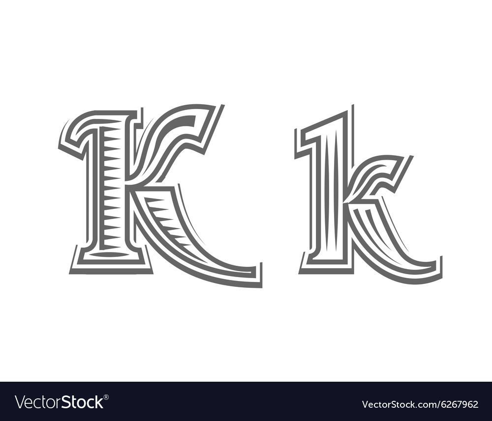 Font tattoo engraving letter K