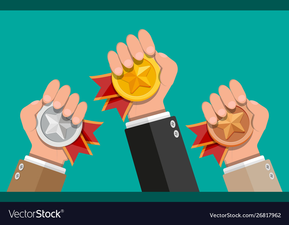 Medals with red ribbons and star shapes in hands