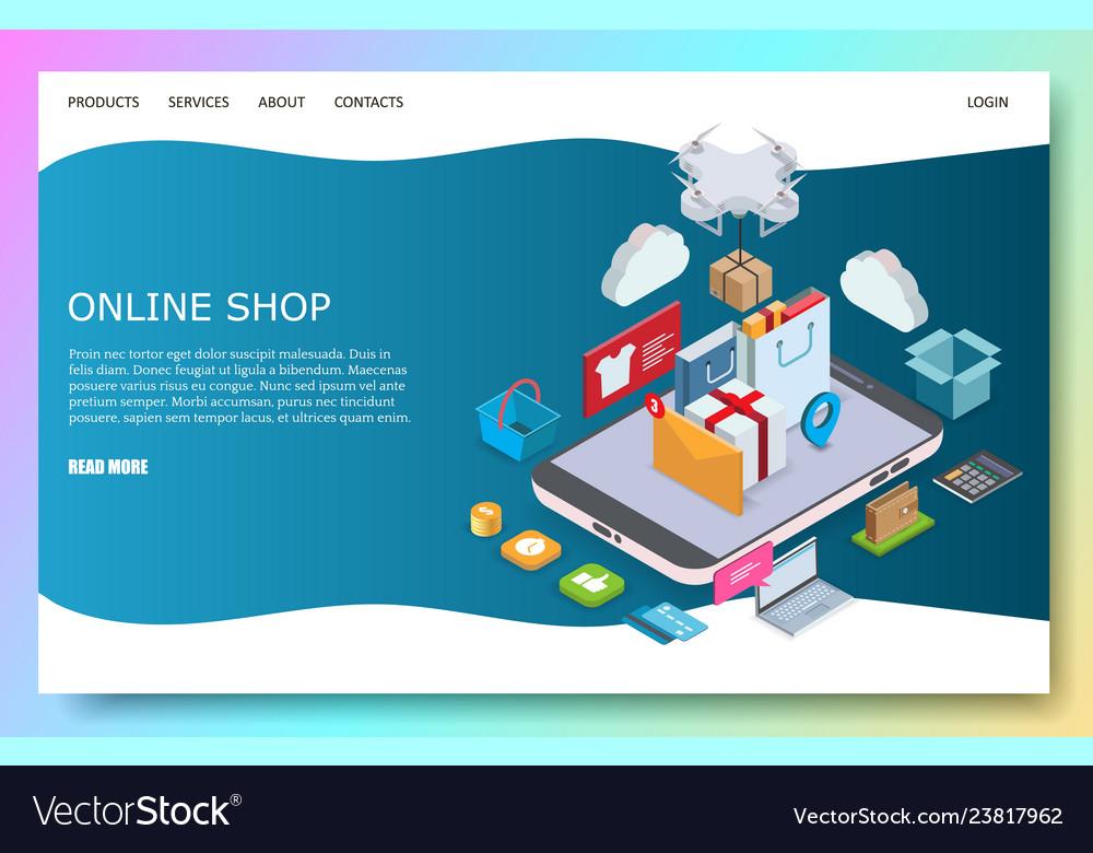 Online shop website landing page design