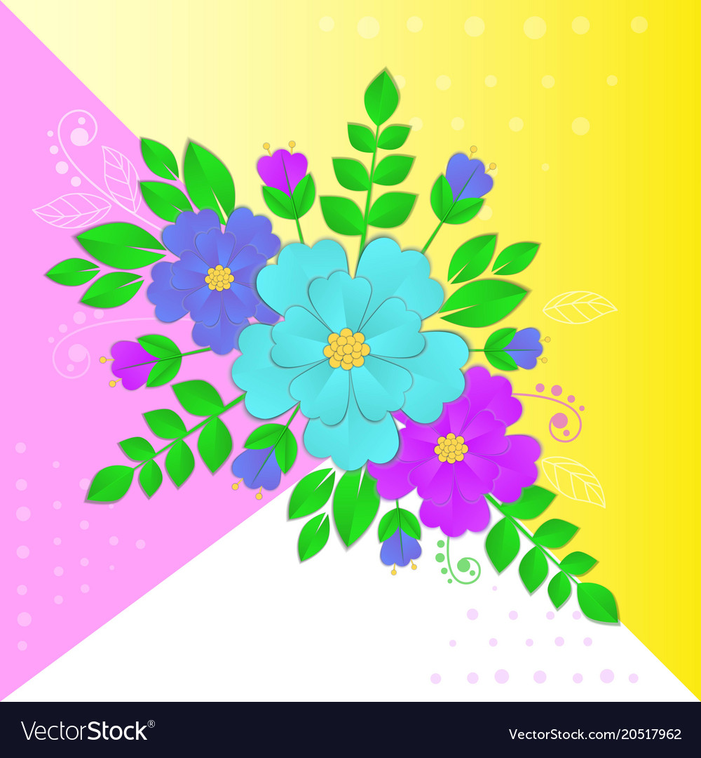 Paper Flowers And Leaves On Royalty Free Vector Image