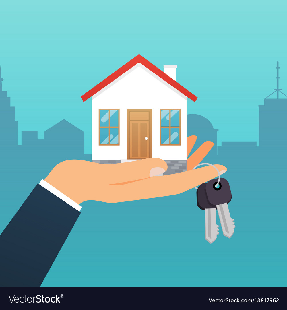 Real estate agent holds the key from the home