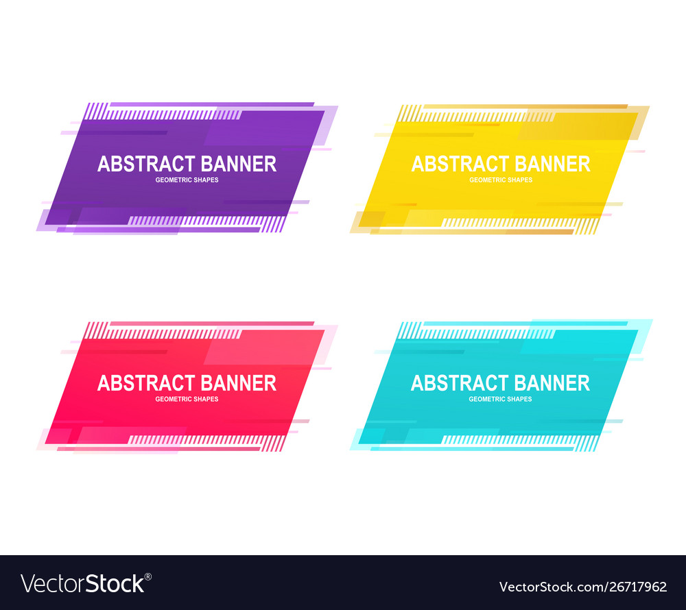 Set geometric promotional banner stickers