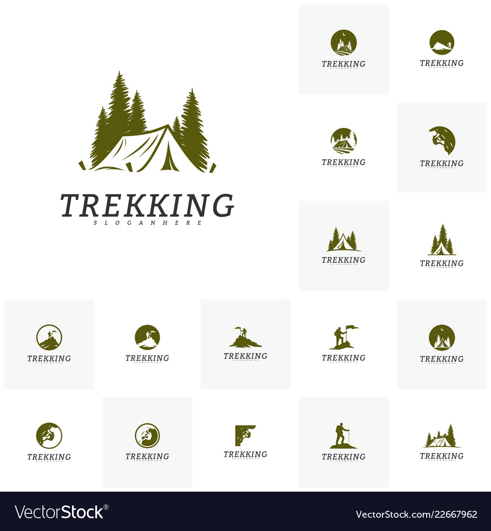 Set of outdoor activity symbol logo camping