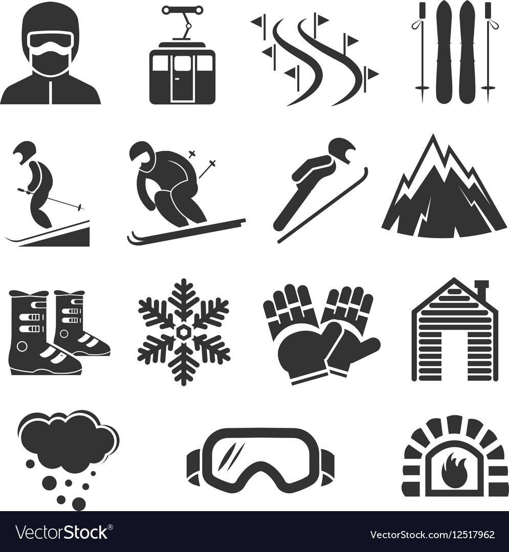 Ski resort sports icons Winter snow skiing sport