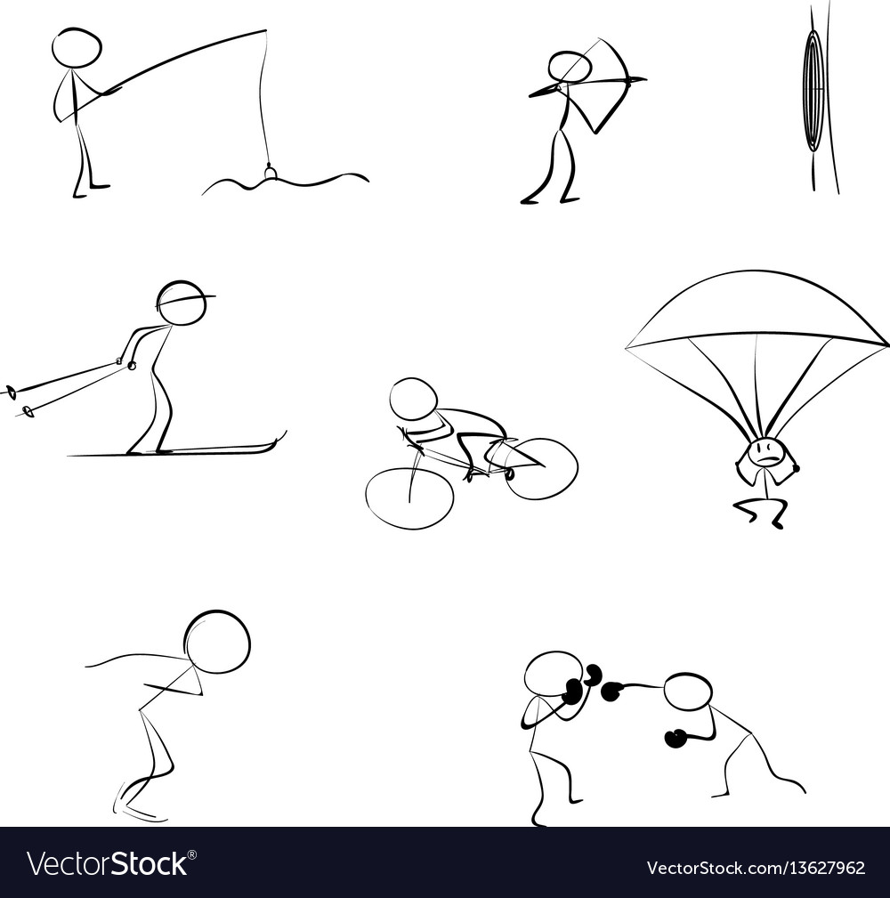 Stick men sports icon vector image