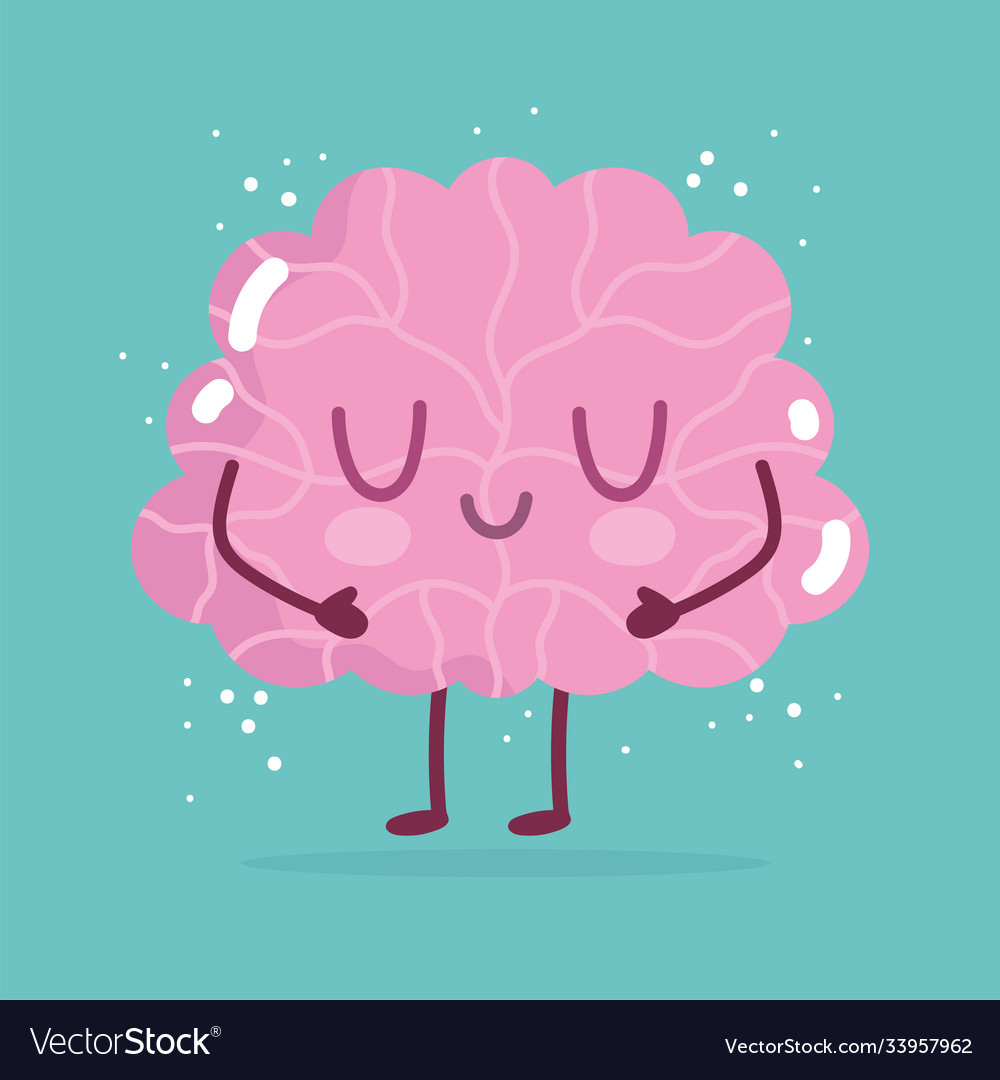 World mental health day cartoon brain character