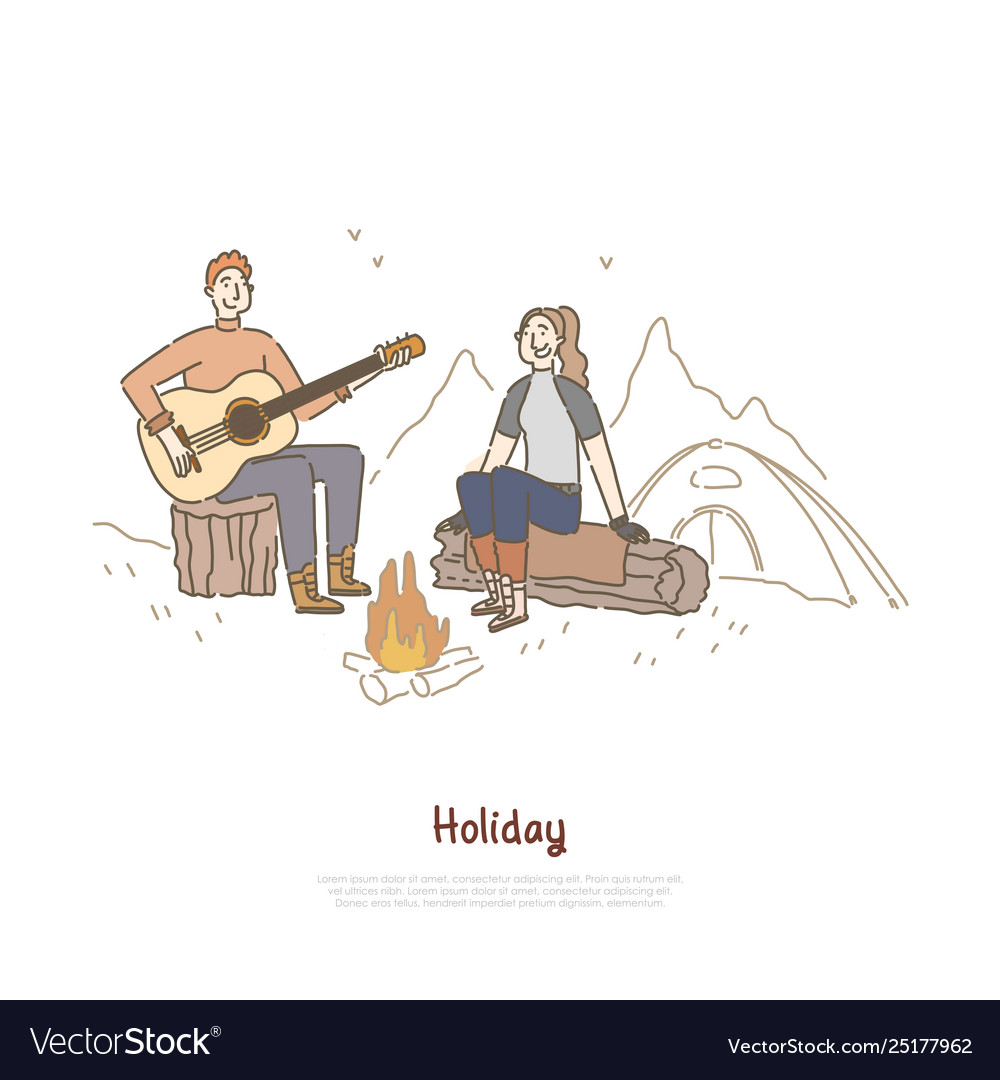Young couple sitting together campfire man