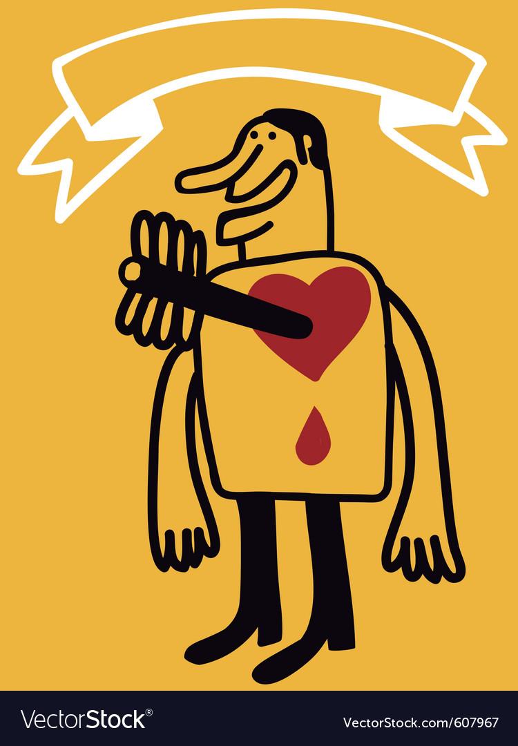 Arrow in heart vector image