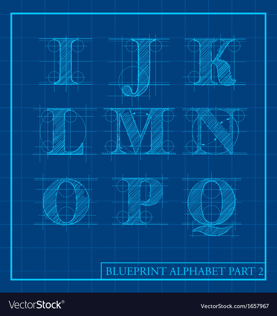 Blueprint style alphabet set 2 royalty free vector image blueprint style alphabet set 2 vector image malvernweather Image collections