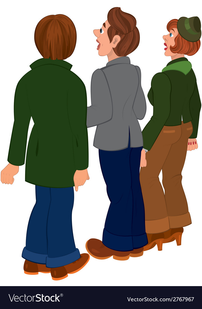 Cartoon people standing and looking on something