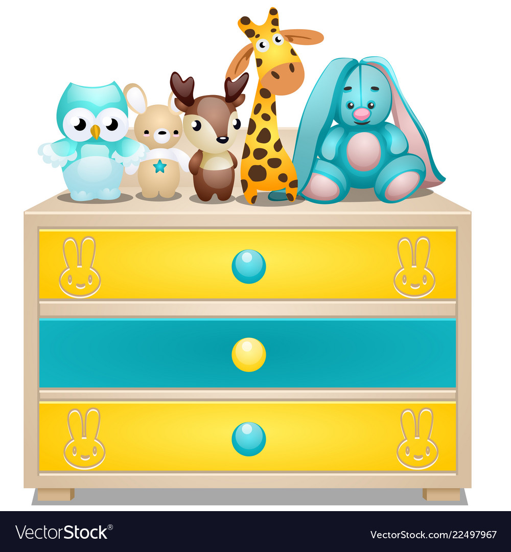 Childrens chest of drawers with plush toys