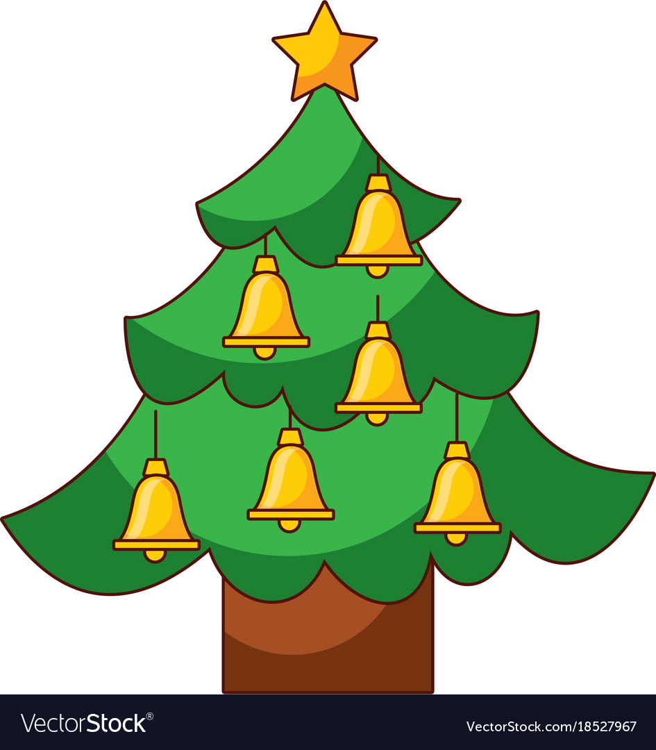 christmas tree pine star and bells decoration vector image - Christmas Tree Bell Decoration