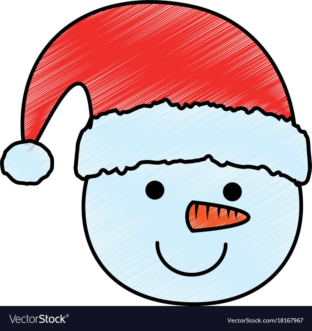 cute snowman head character icon royalty free vector image