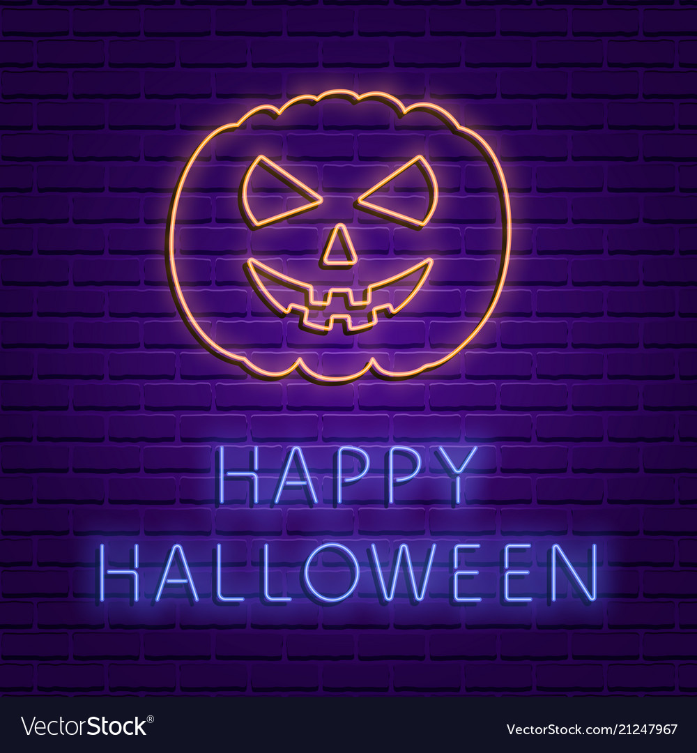 Happy halloween bright signboard with pumpkin