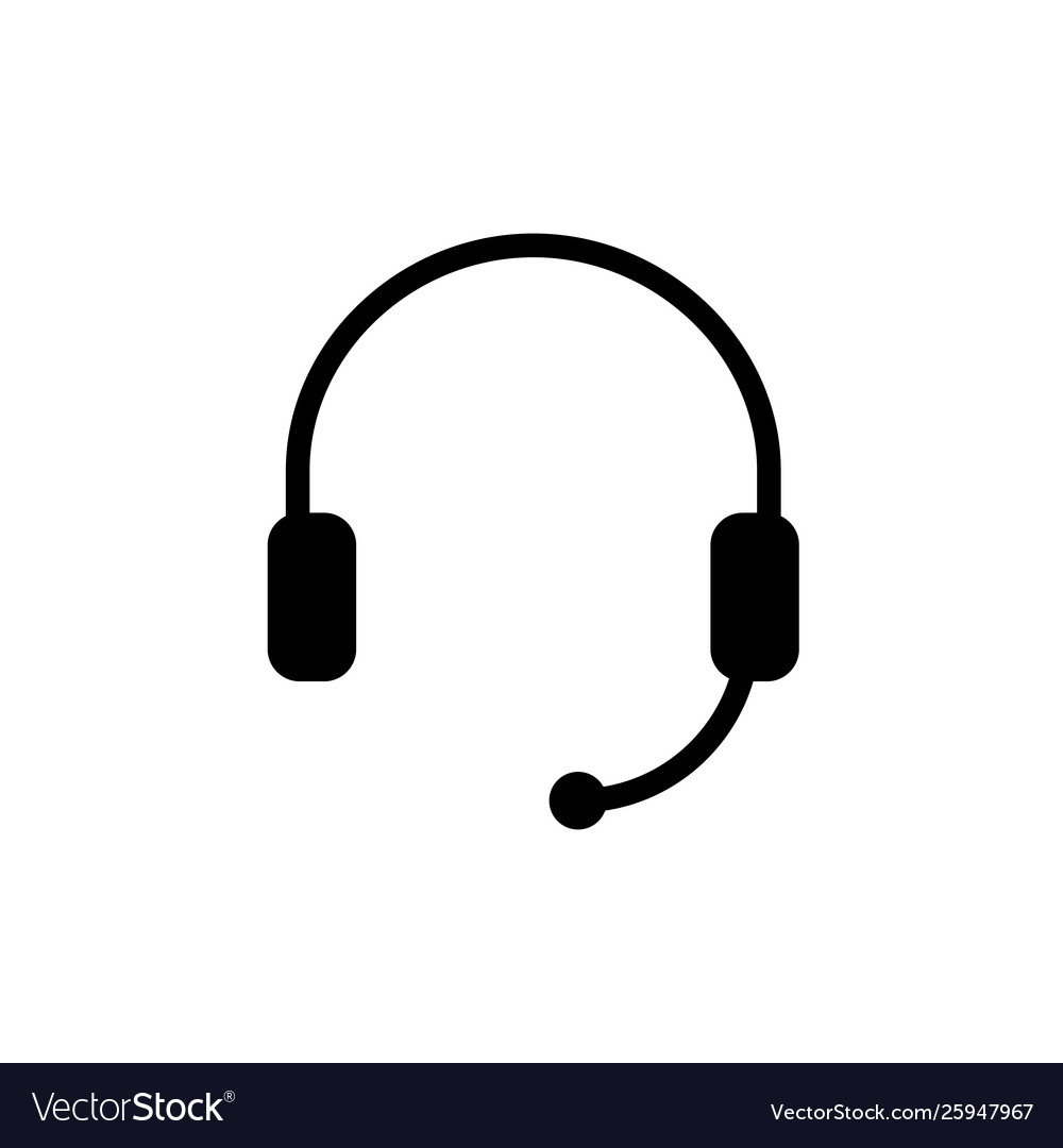 Headphones with microphone simple icon