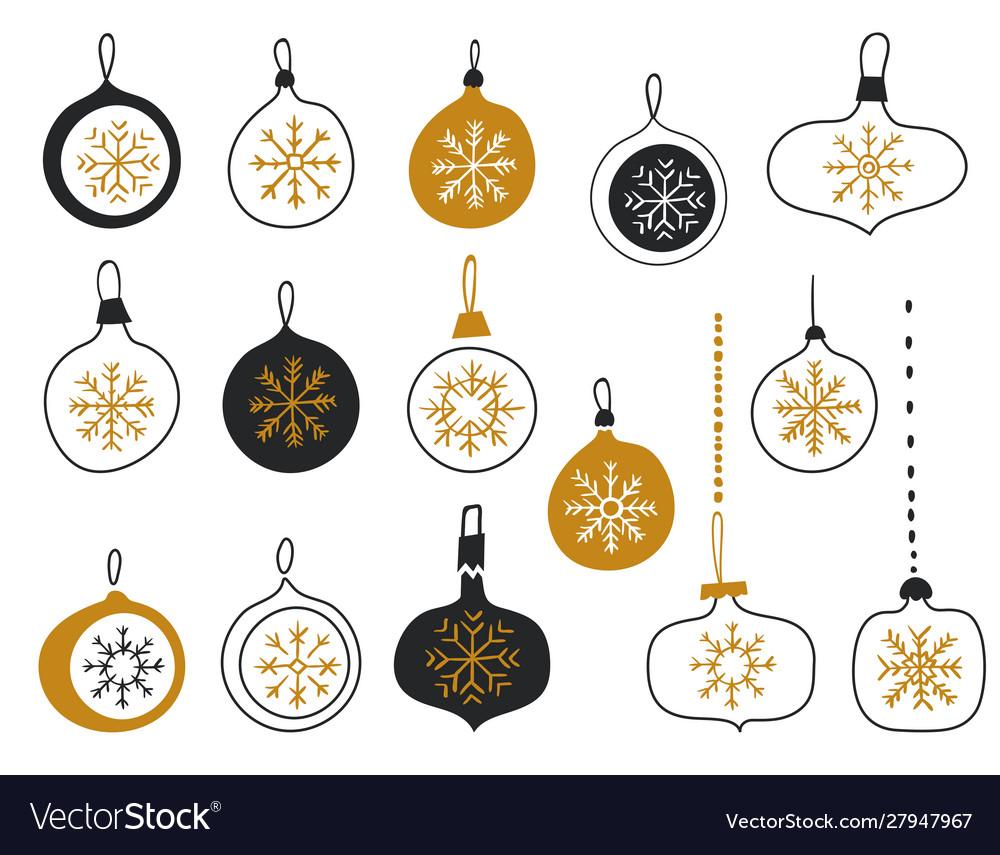 Merry christmas balls with snowflakes christmas