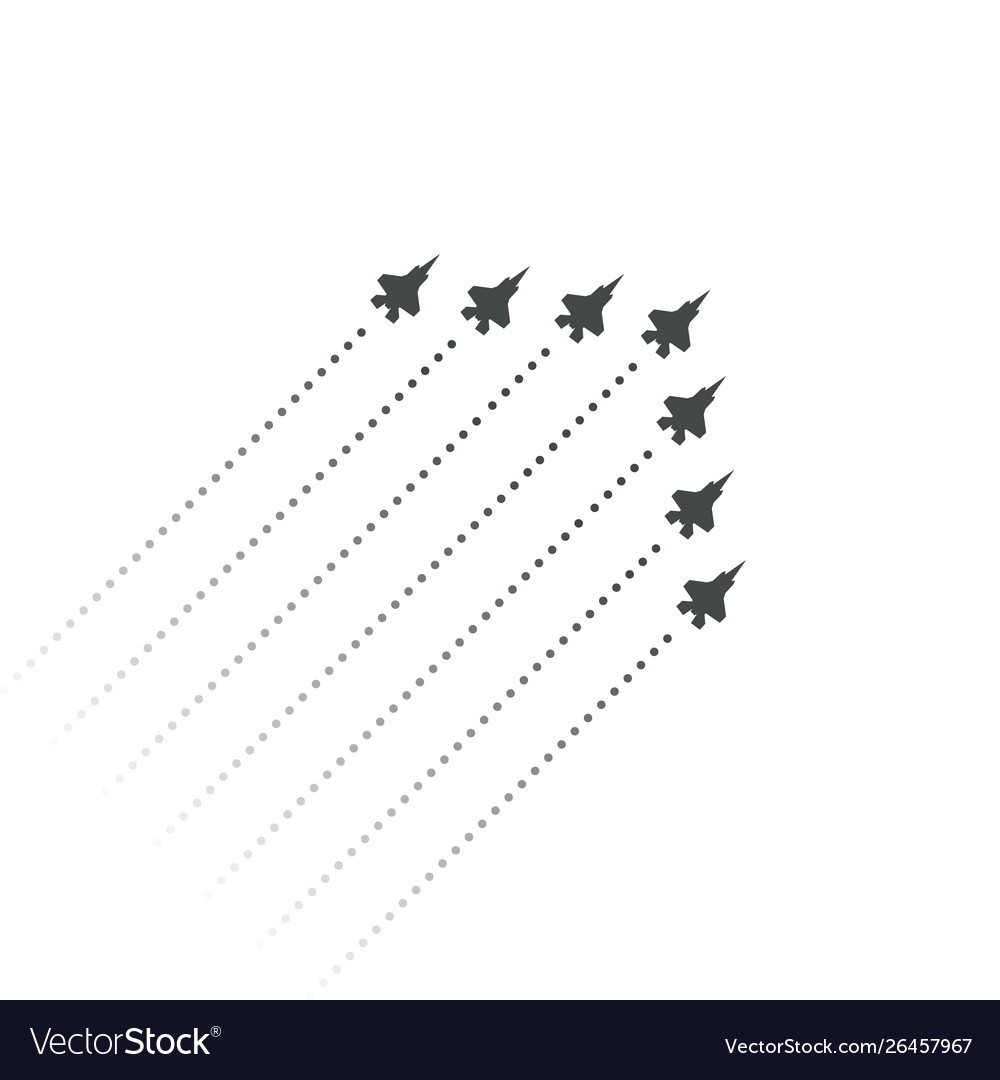 Military aviation fighters fly up wedge shape of
